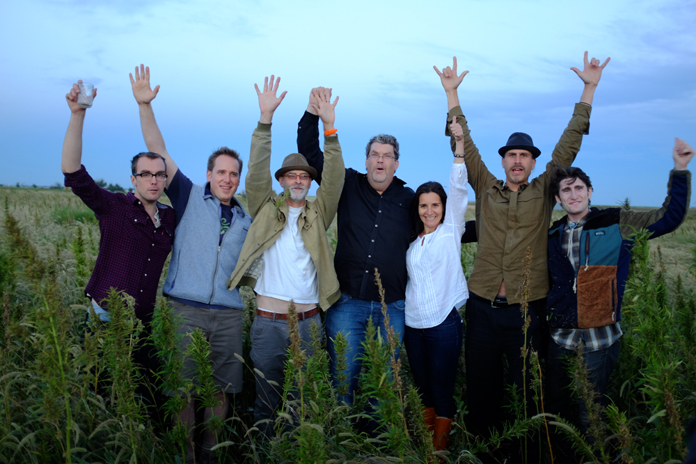 Vote Hemp board and staff members celebrate hemp harvest.