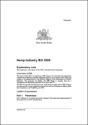 Queensland Hemp Industry Bill 2008