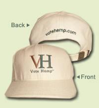 Vote Hemp logo hemp hat