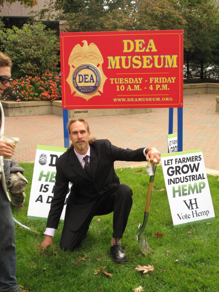 David Bronner plants hemp on the DEA headquarters lawn