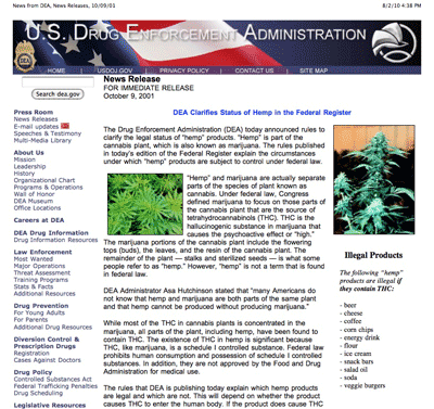 DEA attempts to make hemp foods illegal