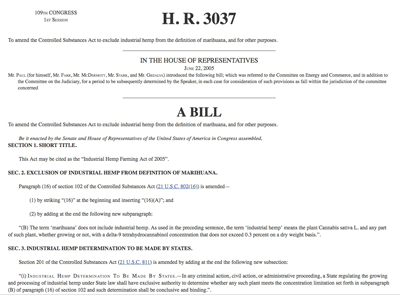 H.R. 3037 - Industrial Hemp Farming Act of 2005 - Ron Paul