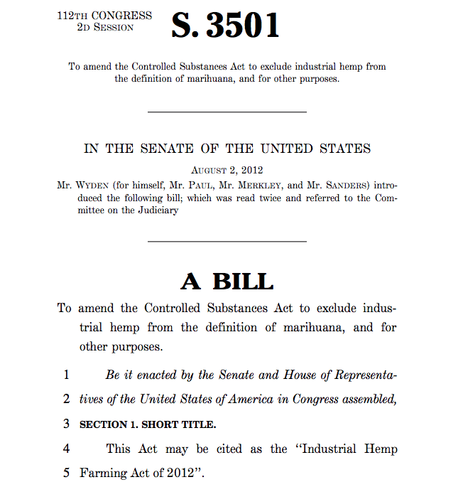S. 3501 - Industrial Hemp Farming Act of 2012 - Sen. Wyden